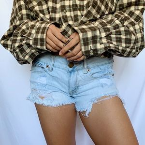 American Eagle Light Wash Distressed Denim Shorts